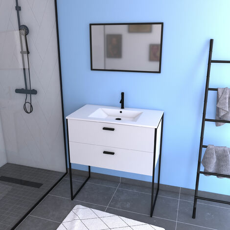 Ensemble meuble de salle de bain 80x45cm Blanc avec pieds style industriel - 2 tiroirs - vasque blanche - miroir et pieds noir mat - INDUSTRY WHITE 80