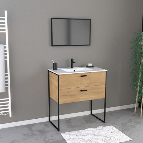 Ensemble meuble de salle de bain 80x45cm style industriel couleur chene naturel style industriel - 2 tiroirs - vasque blanche - miroir et pieds noir mat - INDUSTRY BROWN 80