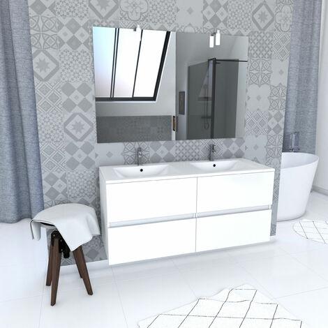 Ensemble Meuble de salle de bain blanc 120cm suspendu a 2 tiroirs + vasque ceramique blanche + miroir applique led - STARTED pack 60