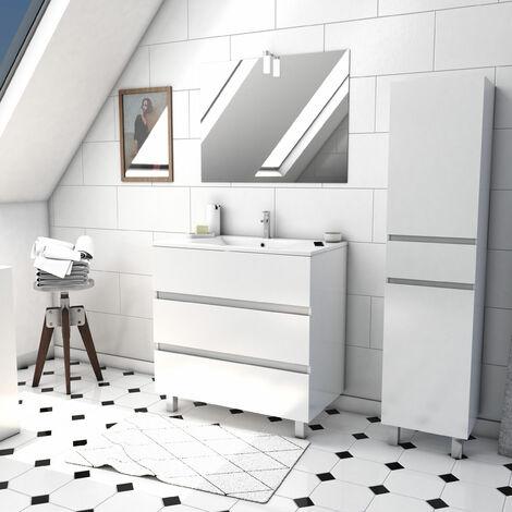 Ensemble Meuble de salle de bain blanc 60cm sur pied a 3 tiroirs + vasque ceramique blanche + miroir applique LED + meuble colonne sur pied - STARTED pack 40