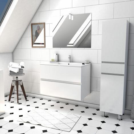 Ensemble Meuble de salle de bain blanc 80cm suspendu a 2 tiroirs + vasque ceramique blanche + miroir avec applique LED + meuble colonne sur pied - STARTED pack 38