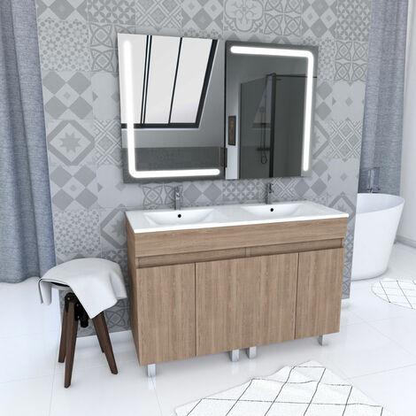 Ensemble Meuble de salle de bain chene celtique 120cm sur pied + vasque ceramique blanche + miroir led integree - STARTED pack 64