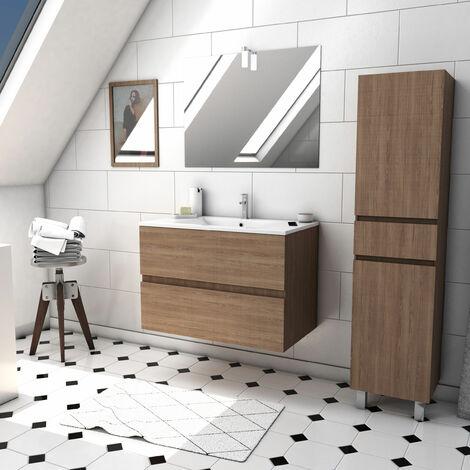 Ensemble Meuble de salle de bain chêne celtique 60cm suspendu a 2 tiroirs + vasque céramique blanche + miroir led intégrée + meuble colonne sur pied - STARTED pack 37