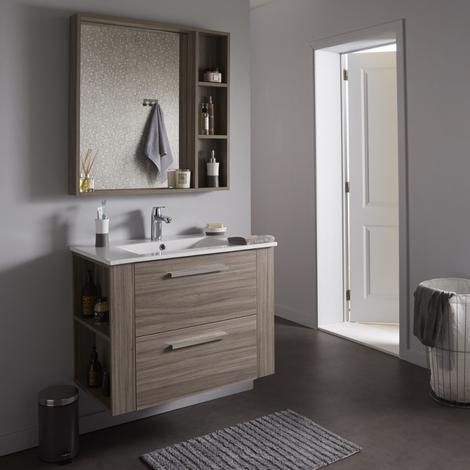 Ensemble meuble de salle de bain + miroir couleur olme gris -