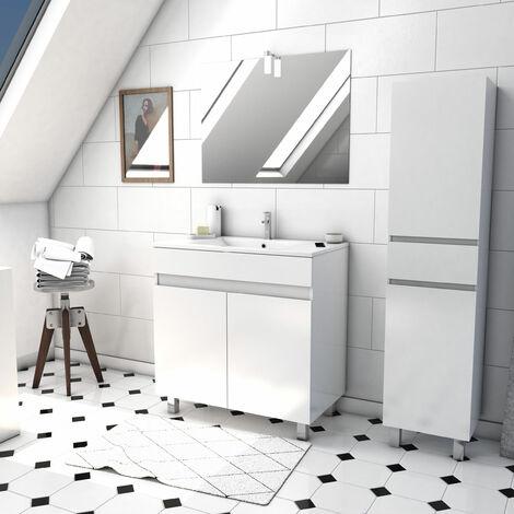 Ensemble meuble de salle de bain sur pied a portes avec vasque et miroir avec applique LED et meuble colonne sur pied - existe en plusieurs couleurs en 80 et 60cm