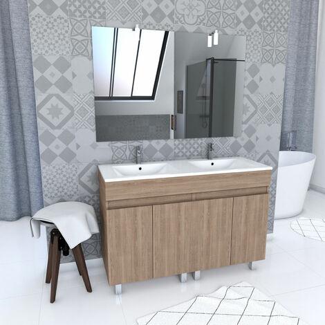 Ensemble meuble de salle de bain sur pied a portes avec vasque et miroir avec applique LED - existe en plusieurs couleurs en 120cm