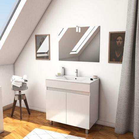 Ensemble meuble de salle de bain sur pied a portes avec vasque et miroir avec applique LED - existe en plusieurs couleurs en 80 et 60cm