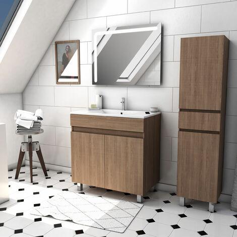 Ensemble meuble de salle de bain sur pied a portes avec vasque et miroir LED integree et meuble colonne sur pied - existe en plusieurs couleurs en 80 et 60cm