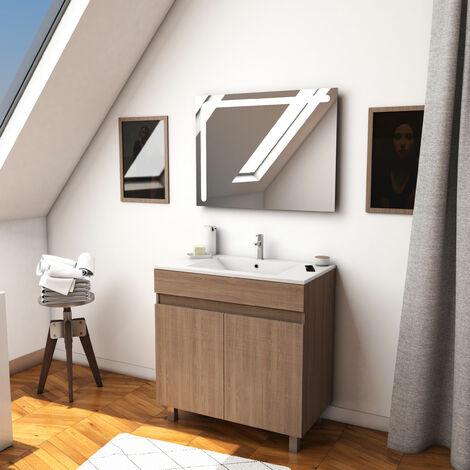Ensemble meuble de salle de bain sur pied a portes avec vasque et miroir LED integree - existe en plusieurs couleurs en 80 et 60cm