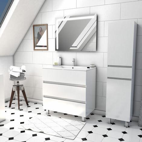 Ensemble meuble de salle de bain sur pied a tiroirs avec vasque et miroir LED integree et meuble colonne sur pied - existe en plusieurs couleurs en 80 et 60cm