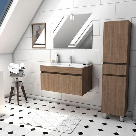 Ensemble meuble de salle de bain suspendu a portes avec vasque et miroir avec applique LED et meuble colonne sur pied - existe en plusieurs couleurs en 80 et 60cm