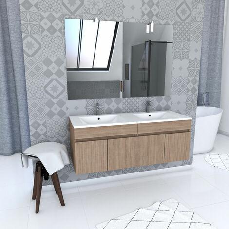 Ensemble meuble de salle de bain suspendu a portes avec vasque et miroir avec applique LED - existe en plusieurs couleurs en 120cm