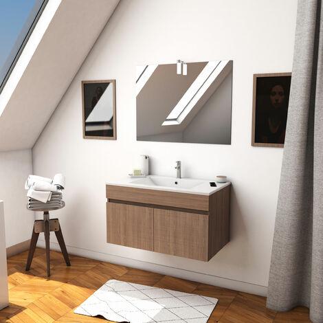 Ensemble meuble de salle de bain suspendu a portes avec vasque et miroir avec applique LED - existe en plusieurs couleurs en 80 et 60cm