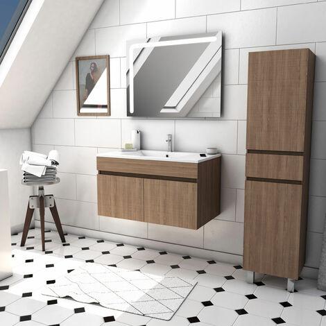Ensemble meuble de salle de bain suspendu a portes avec vasque et miroir LED integree et meuble colonne sur pied - existe en plusieurs couleurs en 80 et 60cm