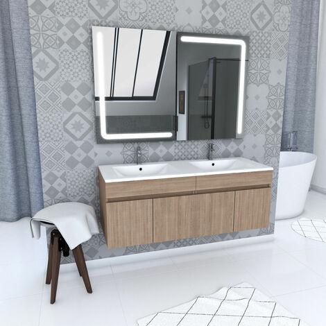 Ensemble meuble de salle de bain suspendu a portes avec vasque et miroir LED integree - existe en plusieurs couleurs en 120cm