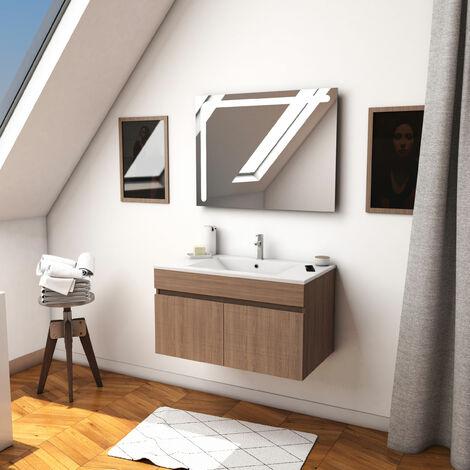 Ensemble meuble de salle de bain suspendu a portes avec vasque et miroir LED integree - existe en plusieurs couleurs en 80 et 60cm