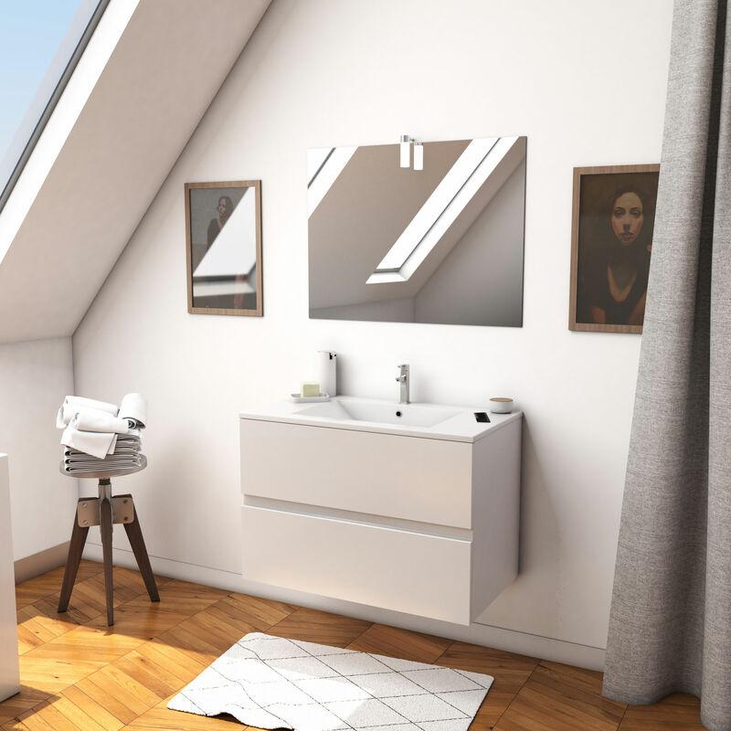 Ensemble Meuble de salle de bain blanc 80cm sur pied a 3 tiroirs vasque ceramique blanche STARTED pack 13 miroir applique led