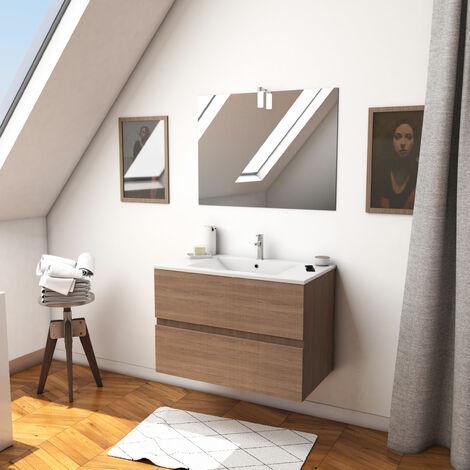 Ensemble meuble de salle de bain suspendu a tiroirs avec vasque et miroir avec applique LED - existe en plusieurs couleurs en 80 et 60cm