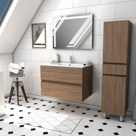 Ensemble meuble de salle de bain suspendu a tiroirs avec vasque et miroir LED integree et meuble colonne sur pied - existe en plusieurs couleurs en 80 et 60cm