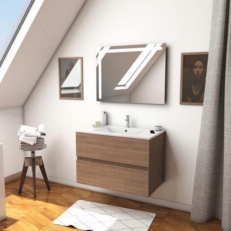 Ensemble meuble de salle de bain suspendu a tiroirs avec vasque et miroir LED integree - existe en plusieurs couleurs en 80 et 60cm