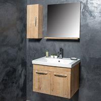 Ensemble meuble de salle de bains Naturel 4 pièces 65 cm - Woody