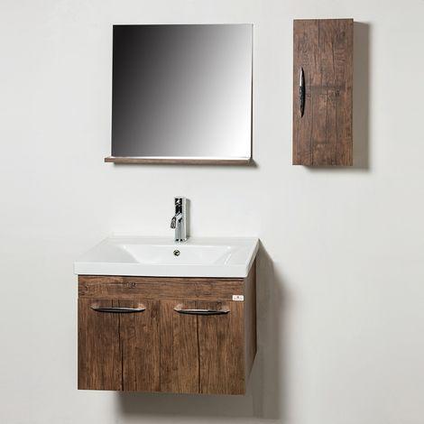 Ensemble meuble de salle de bains rustique 4 pièces 65 cm Rustique - Woody