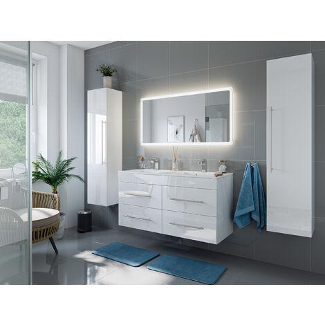 Ensemble meuble de SDB Helios 4 pièces en blanc brillant avec miroir LED
