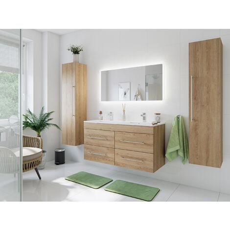Ensemble meuble de SDB Helios 4 pièces en décor chêne avec miroir LED
