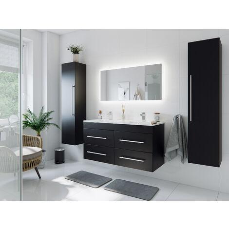 Ensemble meuble de SDB Helios 4 pièces en noir satiné avec miroir LED