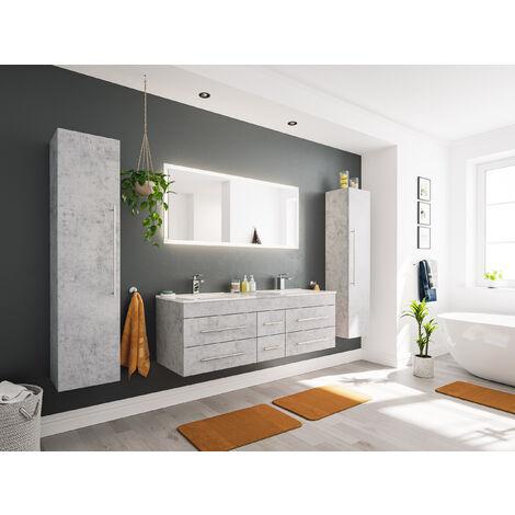 Ensemble meuble de SDB Roma XL 4 pièce incl. miroir LED en aspect béton