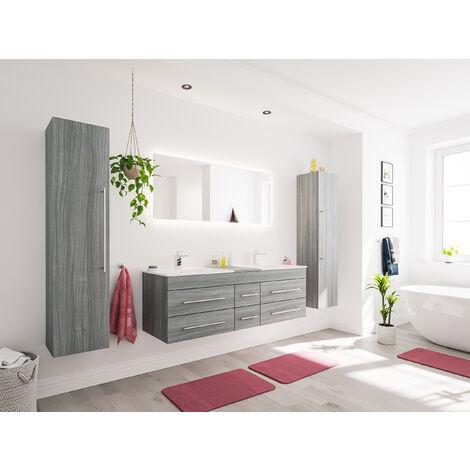 Ensemble meuble de SDB Roma XL 4 pièce incl. miroir LED en décor chêne argenté