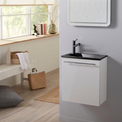 Ensemble meuble lave-mains complet blanc avec lave-mains noir en Solid Stone et mitigeur noir