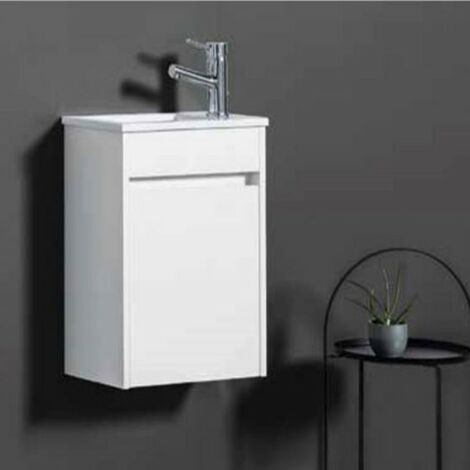 Ensemble meuble lave-mains et vasque Blanc Brillant - ARMOBANY MI4018F