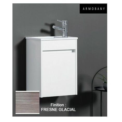 Ensemble meuble lave-mains et vasque Fresne Glacial - ARMOBANY MI4030F