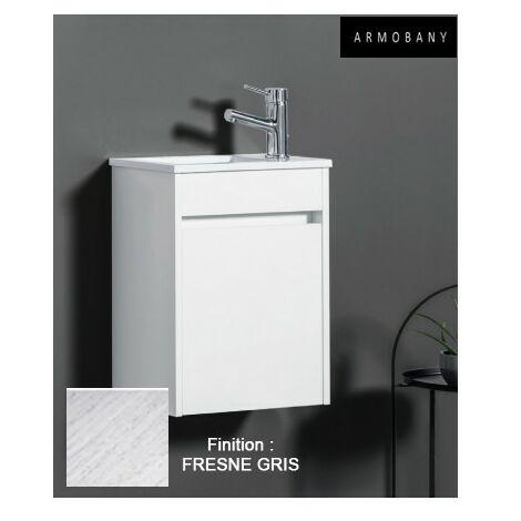 Ensemble meuble lave-mains et vasque Fresne Gris - ARMOBANY MI4013F