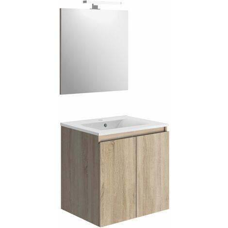 Ensemble meuble salle de bain 2 portes BAZIL avec LED 6 W et miroir 60 x 58 x 46 cm - couleur chêne
