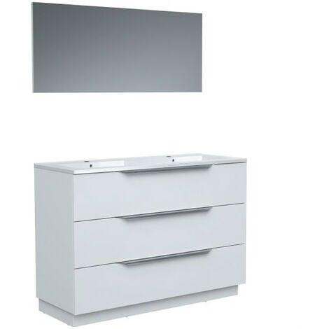 Ensemble Meuble salle de bain L 120 - Vasque + 3 tiroirs + miroir - Blanc - ZOOM