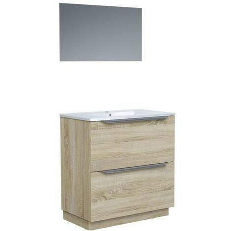 Ensemble Meuble salle de bain sur socle L 80 - Vasque + 2 tiroirs + miroir - ZOOM