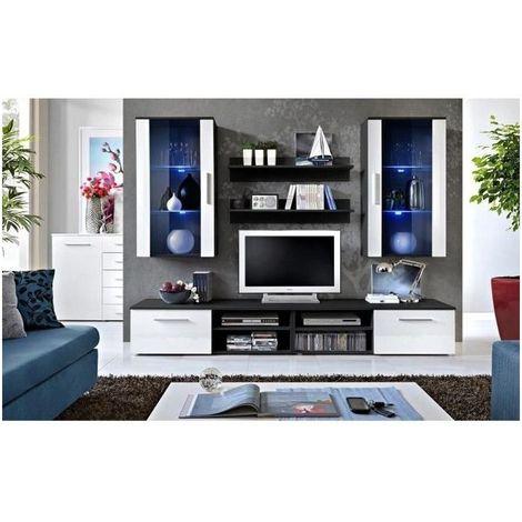 Ensemble meuble salon GALINO G design, coloris noir et blanc. Meuble  moderne et tendance pour votre salon.