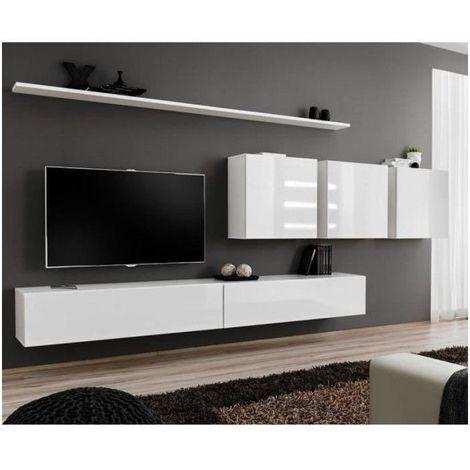 Ensemble meuble salon mural SWITCH VII design, coloris blanc brillant. - Blanc