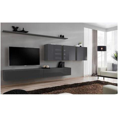 Ensemble meuble salon mural SWITCH VII design, coloris gris brillant. - Gris