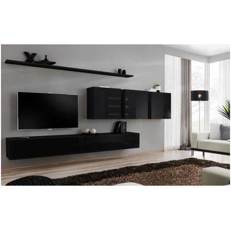 Ensemble meuble salon mural SWITCH VII design, coloris noir brillant. - Noir