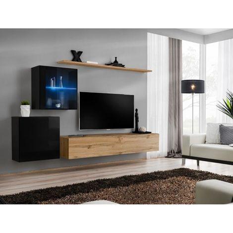 Ensemble meuble salon mural SWITCH XV design, coloris chêne Wotan et noir brillant. - Marron