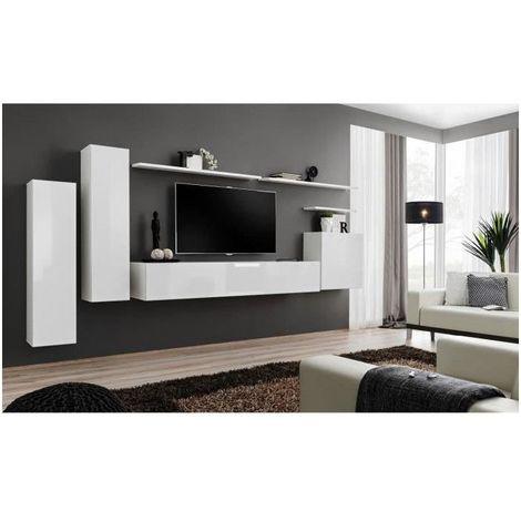 Ensemble meuble salon SWITCH I design, coloris blanc brillant. - Blanc
