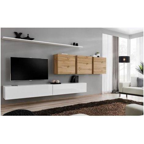 Ensemble meuble salon SWITCH VII design, coloris blanc brillant et chêne Wotan. - Blanc