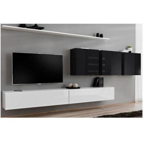 Ensemble meuble salon SWITCH VII design, coloris blanc et noir brillant. - Blanc