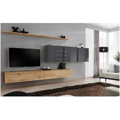 Ensemble meuble salon SWITCH VII design, coloris chêne Wotan et gris brillant. - Marron