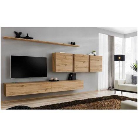 Ensemble meuble salon SWITCH VII design, coloris chêne Wotan. - Marron