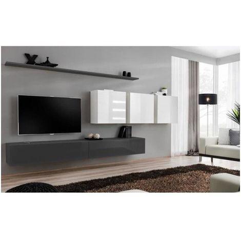 Ensemble meuble salon SWITCH VII design, coloris gris et blanc brillant. - Gris