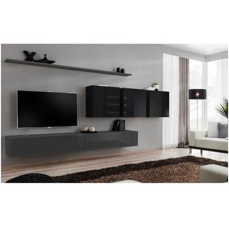 Ensemble meuble salon SWITCH VII design, coloris gris et noir brillant. - Gris